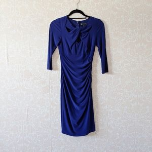 INC International Cobolt Blue Ruched Midi Dress